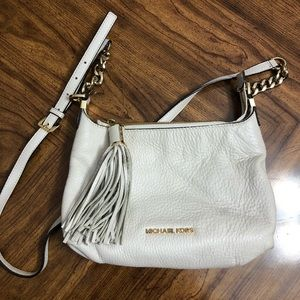 MK White Leather Bedford Tassel Crossbody Bag